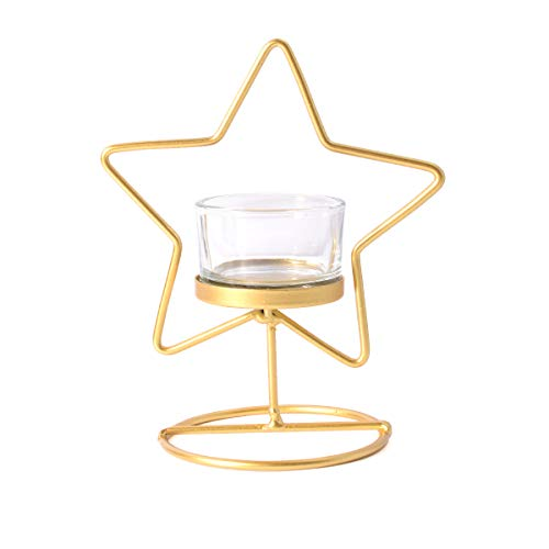 - LONGWIN Lovely Metal Tea Light Candle Holder Gold Star Shaped Votive Candle Holder with Glass Cup Table Centerpiece