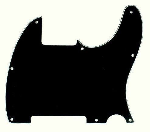 3 Ply Guitar Pickguard Fits Telecaster Tele Esquire -Black (B25)