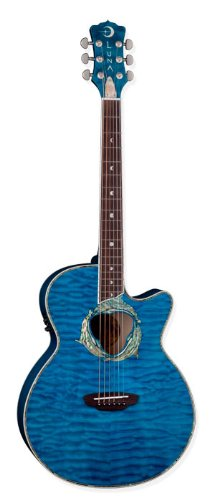 (Luna Fauna Series Dolphin Cutaway Acoustic-Electric Guitar - Transparent Azure )