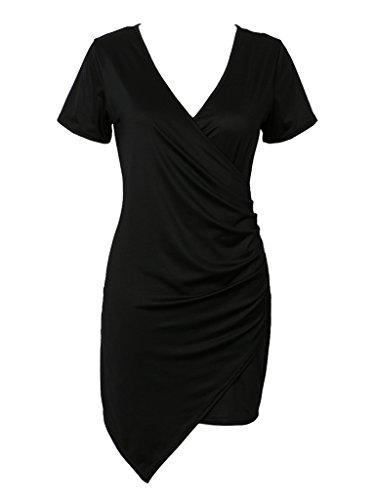 CHARLES RICHARDS CR Women's Black V Neck Wrap Front Asymmetric Cotton Bodycon Mini Dress,Small