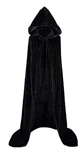 Unisex Adult Women Men Velvet Long Hooded Cloak Tippet Cape Halloween Christmas Theater Party Role Cosplay Costume Wedding Shawl Coat Decoration, Black - Kid Sized Black Velvet Cape