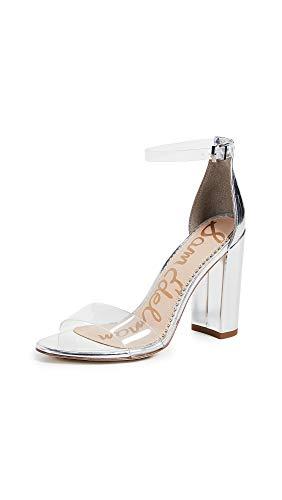 Sam Edelman Women's Yaro Sandals, Clear/Soft Silver, 4.5 M US
