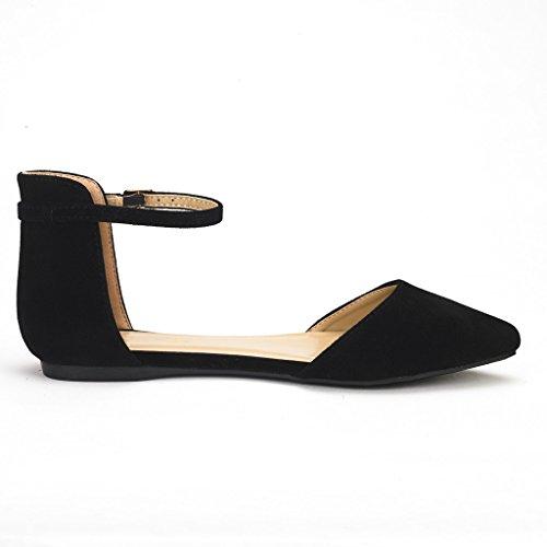 DREAM PAIRS FLAPOINTED Frauen Casual D'Orsay wies Plain Ballett Comfort Soft Slip auf Wohnungen Schuhe neu Knöchel-schwarzes Wildleder