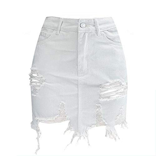 Irregulares Cintura Mezclilla White Mujer Alta Mujeres Faldas Rasgados Swovq Falda Para Lápiz De wqEx7nnzXp