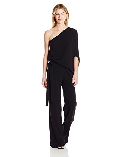 HALSTON HERITAGE Women's Asymmetrical Sleeve Wide Leg Jumpsuit with Tie, Black, 10