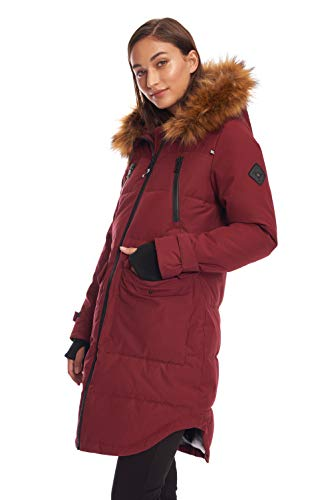 Alpine North Womens Vegan Down Drawstring Winter Parka, Oxblood, L