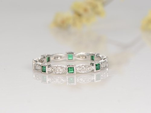 Full Eternity Diamond Wedding Band,Natural Emerald Engagement Ring,Solid 14k White Gold Band Bridal Promise Ring Stack Matching Band