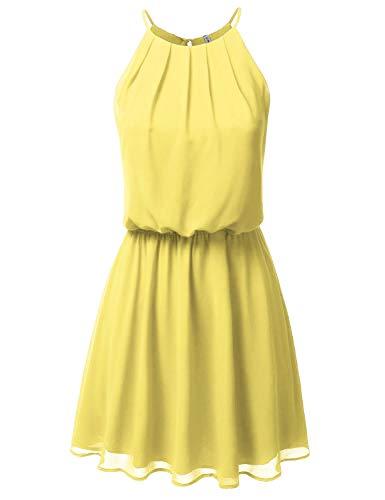 JJ Perfection Women's Sleeveless Double-Layered Pleated Mini Chiffon Dress Bananayellow L