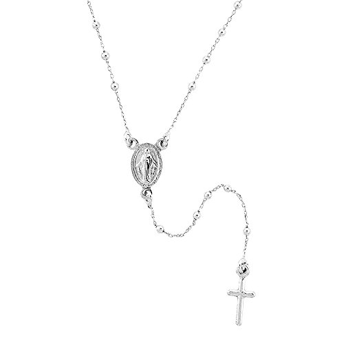 Sterling Silver Dainty Rosary Necklace 1.8 mm Beads Platinum Plated Handmade for women Italy, 18 inch