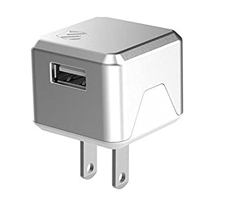SCOSCHE Wall Charger for Android Devices, iPhone - Retail Packaging - White/Silver (Scosche Supercube)