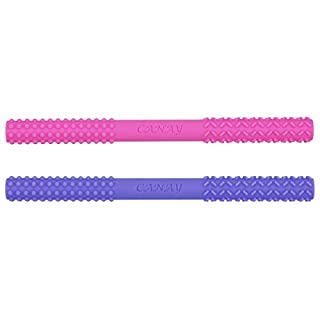 Hollow Teether Tubes (6.8'' Long) – Teething Toys for Babies 0-6 Months 6-12 Months - BPA Free/Freezer & Refrigirator Safe - Different Soft Textures for Infant and Toddlers (Pink + Purple))