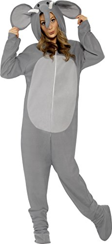Smiffy's Adult Unisex Elephant Costume, All In One Jumpsuit, Size: L, (Elephant Costume For Adults)