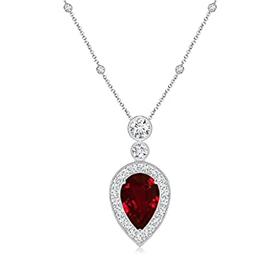 Angara Natural Ruby Teardrop Necklace in Platinum - July Birthstone Pendant 6bhKJ