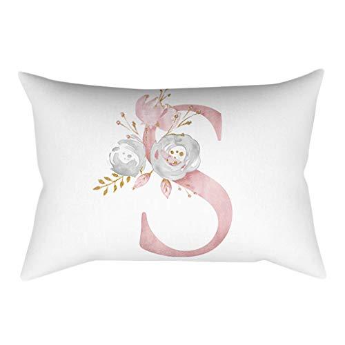 QBQCBB 30x50 cm Kinder Zimmer Dekoration Brief Kissen Englisch Alphabet Pillowcases(S)