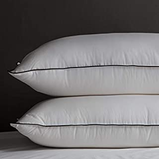 KRT Pack of Two White Down and Feather Pillows for Sleeping with 100% Egyption Cotton Cover (White, Standard 2 Pillows)