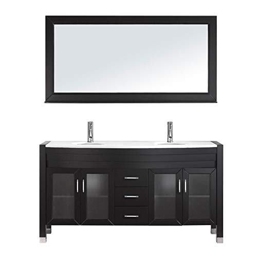 Virtu USA Ava 63 inch Double Sink Bathroom Vanity Set in Espresso w/ Integrated Round Sink, White Engineered Stone Countertop, Single Hole Polished Chrome, 1 Mirror - MD-499-S-ES