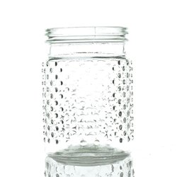 Vintage Hobnail Clear Glass Jar Candle Holder, Antique Vase, Centerpiece, Small (Hobnail Small Vase)