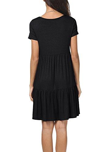 Swing Loose Summer Dress Ruffle Sleeve Women Short Shirt levaca T Black Casual C1XqYw7