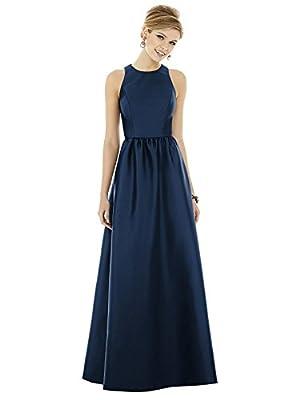 Alfred Sung Style D707 Floor Length Sateen Shirred Skirt Formal Dress - Sleeveless Jewel Neckline