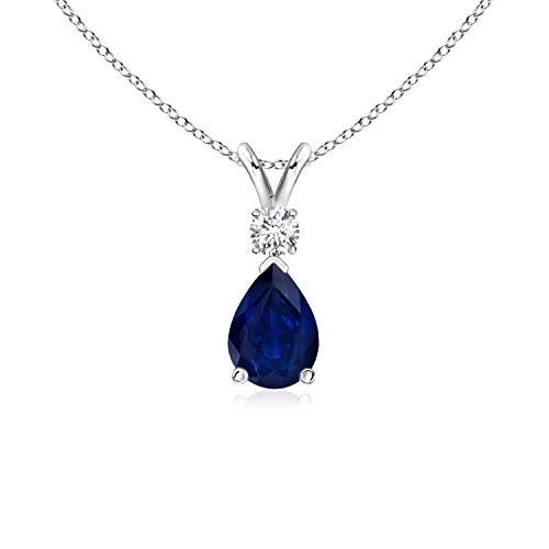 (Blue Sapphire Teardrop Pendant with Diamond in Silver (7x5mm Blue Sapphire) )