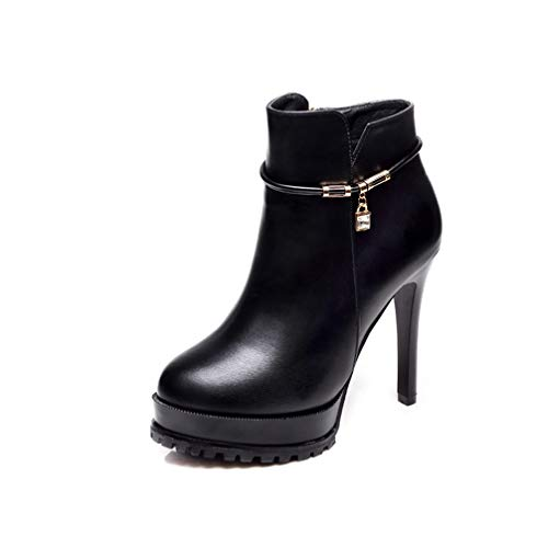 T-JULY New Sexy Women Fashion Platform Thin High Heels Shoes Black Ankle Boots Ladies Leather Party Night Club -