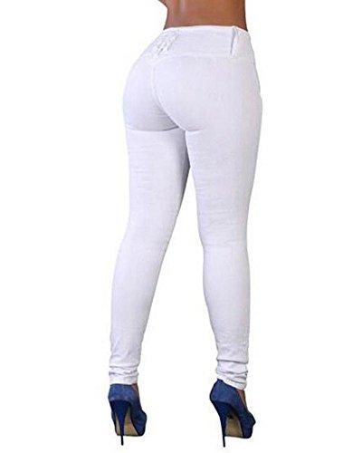 ZhuiKun Taille Pantalon Jeans Denim Femme Blanc Trou Haute Leggings IwIqr