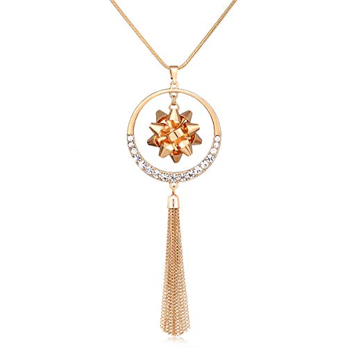 MOLOCH Christmas Necklace for Women X-Mas Gift Bow Circle Pendant Necklaces Statement Tassel Long Necklaces Festive Gift