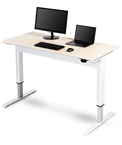 "Pneumatic Adjustable Height Standing Desk (48"", White Frame/Birch Top)"