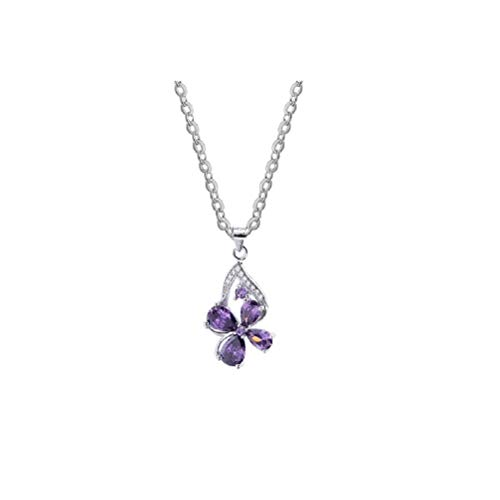 (Lam Sence Sterling Silver Amethyst and Diamond Lucky Four-Leaf Clover Pendant)