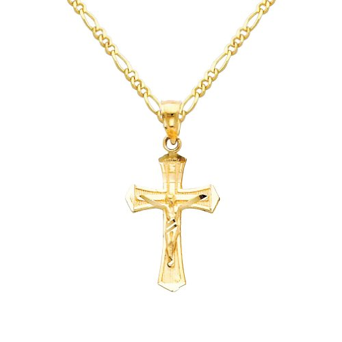 14k Yellow Gold Jesus Cross Religious Pendant with 1.6mm Figaro Chain Necklace - - Yellow 13mm Gold Chain Figaro