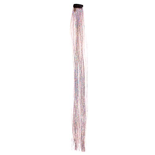 Mia Clip-n-Bling, Pretty Sparkly Hair Tinsel Extension Hair Accessory Hair Clip, 130 Strips, Shiny Hologram Silver, 14 Inches, Women and Girls ()