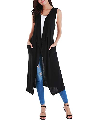 Uniboutique Women's Lightweight Cardigan Open Front Sleeveless Long Vest with Pockets and Belt Black S ()
