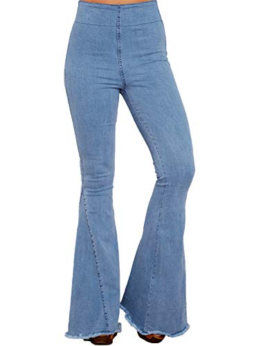 (Aleumdr Womens Juniors Classic Fitted Denim High Elastic Waist Flare Pull On Jeans Bell Bottoms Pants Size L Blue)