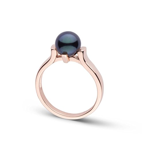 (Stark Collection Black Akoya Cultured Pearl Ring 14K Rose Gold / 6)