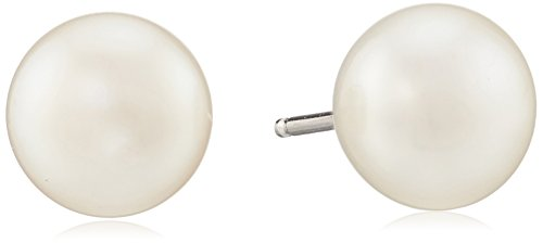 Honora Sterling Silver White Button Freshwater Cultured Pearl Stud Earrings