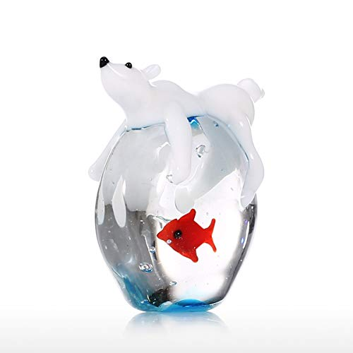 Tooarts Polar Bear and Fish Handmade Animal Art Hand Blown Glass Art Wild Animal Figurine Home Decoration Gift