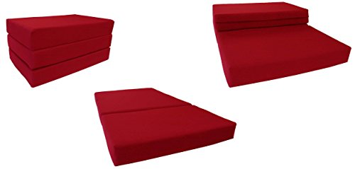 (D&D Futon Furniture Red Solid Twin Size Shikibuton Trifold Foam Beds 6 Thick x 39 W x 75 inches Long, 1.8 lbs high density resilient white foam, Floor Foam Folding Mats.)