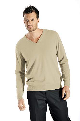 Cashmere Boutique: Men's 100% Pure Cashmere V-Neck Sweater (Color: Camel Brown, Size: Medium)