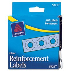 Dispenser Pack Hole Reinforcements, 1/4'' Diameter, Clear, 200/Pack, Total 24 PK, Sold as 1 Carton by Avery