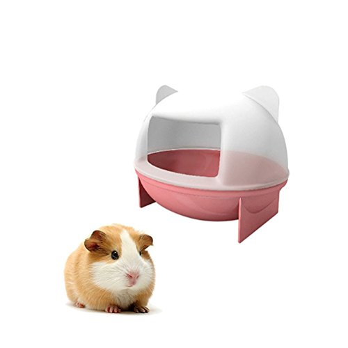 UEETEK Small Animal Rejas Bathroom House with Scoop Set for Mouse Chinchilla Rat Gerbil and Dwarf Hamster (Pink)
