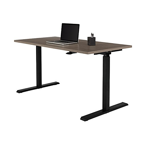 Realspace Magellan Pneumatic Sit-Stand Height-Adjustable Desk, Gray (Realspace Magellan Performance Collection L Desk Espresso)