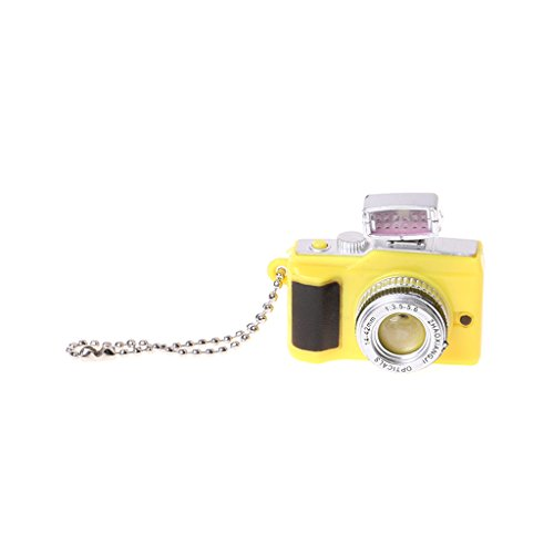 Dabixx Camera Style Key Chain, Creative Camera Led Keychains with Sound LED Flashlight Key Chain Funny Toy - Yellow