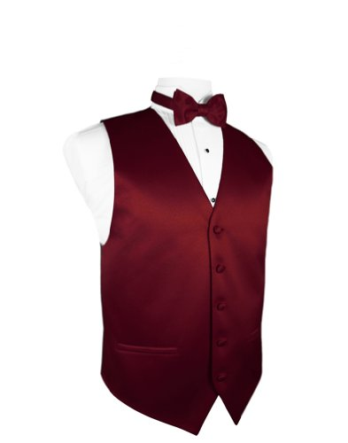 Cardi Men's Solid Satin Tuxedo Vest With Coordinating Bow Tie, Medium Apple - Cardi Solid Satin