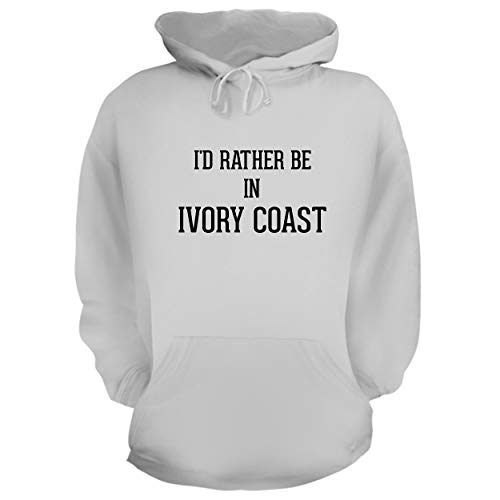 (I'd Rather Be in Ivory Coast - Graphic Hoodie Sweatshirt, White, Large )