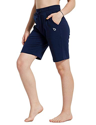 (Baleaf Youth Girl's Basketball Shorts Active Lounge Bermuda Shorts Knee Length Yoga Shorts with Pockets Navy Blue-Purple Youth-L)