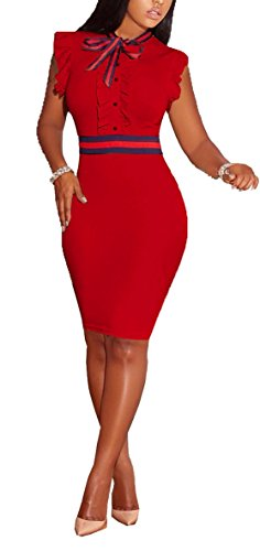 LKOUS Women's Summer Elegant Bowknot Sleeveless Ruffle Bodycon Midi Dress Plus Size S-3XL Red