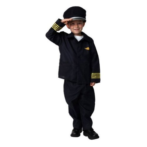 Boys Airline Jet Pilot Career Role Play Dressup Halloween Costume Size 4/6