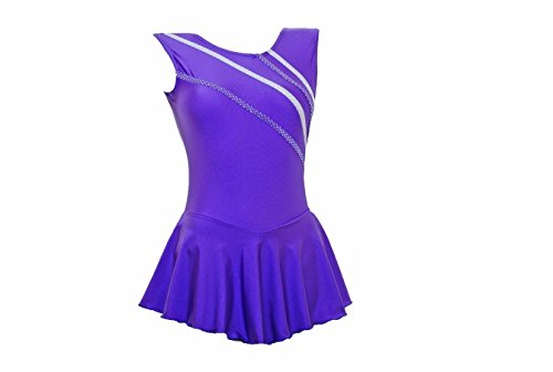 metallischen glänzenden des Höhepunkten S102a mit purpurroten mehrfarbig Lycra Skating Majorette Eis Kleid Sleeveless wYqxzT1IY