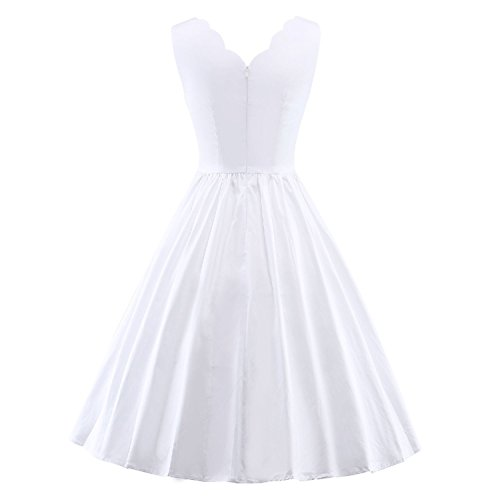 Hepburn Style Evening Audrey Dress White Rockabilly Classy 1950's Vintage Davikey Swing 2 twqpCAx