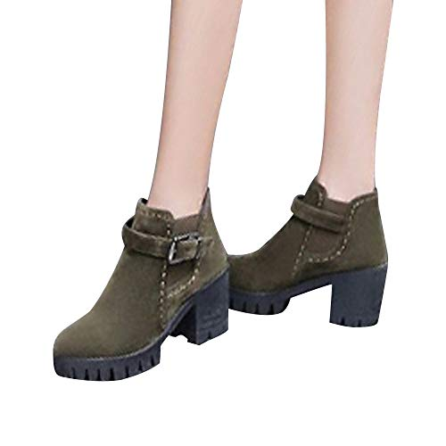 Brown Square Womens Suede Round Buckle Toe Heels Shoes Boots Martin Middle Strap xwHOq1PS
